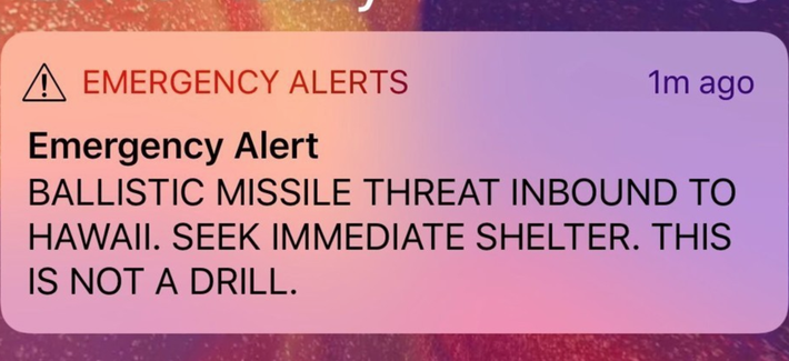A screen capture from a Twitter account showing a missile warning for Hawaii, U.S., January 13, 2018 in this picture obtained from social media.