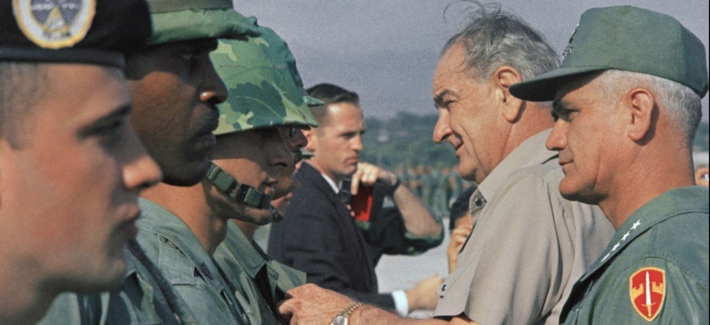 President Lyndon B. Johnson and Gen. William Westmoreland in Vietnam on December 25, 1967, a month before the Tet Offensive.