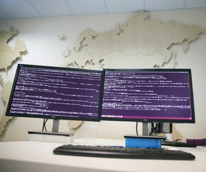 A computer code is seen on displays in the office of Global Cyber Security Company Group-IB in Moscow, Russia, Wednesday, Oct. 25, 2017.