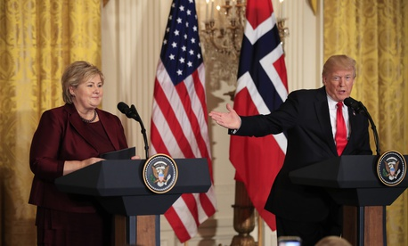 Norwegian Prime Minister Erna Solberg, speaks during a joint news conference with President Donald Trump, in the East Room of the White House in Washington, Wednesday, Jan. 10, 2018.