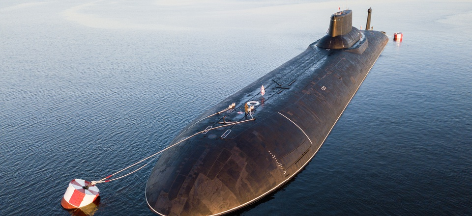In this aerial photo, the Russian nuclear submarine Dmitry Donskoy moored near Kronstadt, a seaport town 30 km (19 miles) west of St. Petersburg, Russia, July 28, 2017.