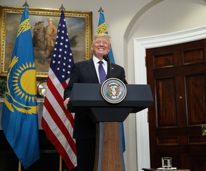 President Donald Trump delivers a statement with Kazakhstan's President Nursultan Nazarbayev in the Roosevelt Room of the White House, Tuesday, Jan. 16, 2018, in Washington.