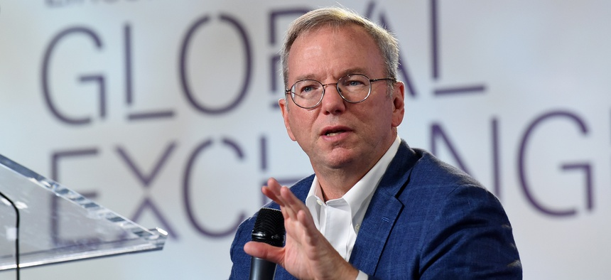 Eric Schmidt, Executive Chairman, Alphabet Inc., speaks at the inaugural Lincoln Center Global Exchange, Friday, Sept. 18, 2015 in New York.