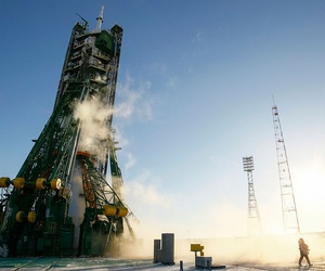A Soyuz spacecraft, which carries astronauts to space, sits on the launchpad at Baikonur cosmodrome in Kazakhstan in December.