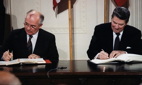 Soviet Leader Mikhail Gorbachev and U.S. president Ronald Reagan sign the Intermediate-Range Nuclear Forces Treaty on December 8, 1987.