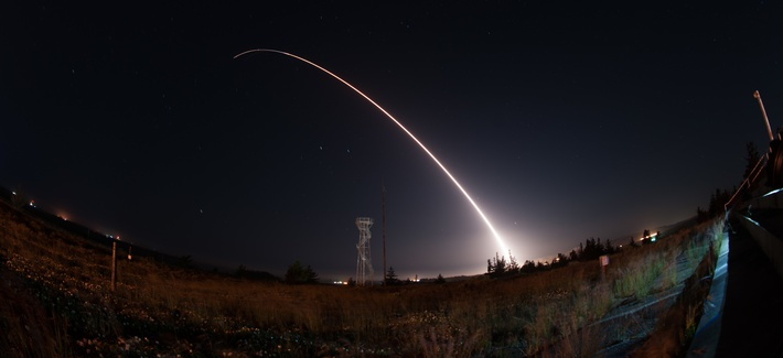 An unarmed Minuteman III intercontinental ballistic missile launches during an operational test from Vandenberg Air Force Base, Calif., April 26, 2017.