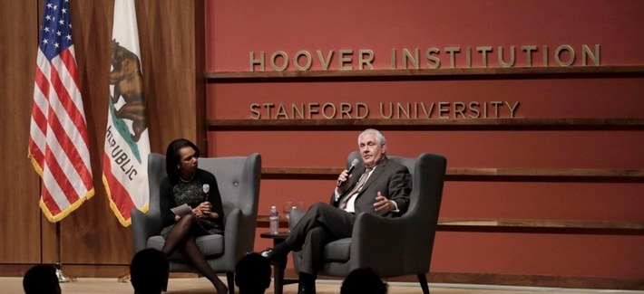 Secretary of State Rex Tillerson and former Secretary of State Condoleeza Rice speak to the Hoover Institution at Stanford University on Wednesday, Janurary 17, 2018.