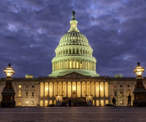 The U.S. Capitol Building as night falls in Washington, Sunday, Jan. 21, 2018 and Congress continues to negotiate during the second day of the federal government shutdown.