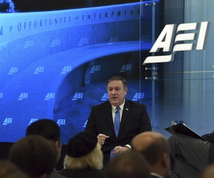 CIA Director Mike Pompeo speaks on intelligence issues at the American Enterprise Institute in Washington, Jan. 23, 2018.