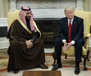 President Donald Trump meets with Saudi Defense Minister and Deputy Crown Prince Mohammed bin Salman in the Oval Office of the White House in Washington, March 14, 2017.