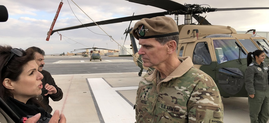 Gen. Joseph Votel speaks to reporters at King Abdullah II air base, outside of Amman, Jordan, Sunday, Jan. 28, 2018