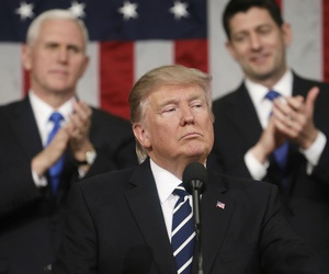 President Trump addresses a joint session of Congress last winter, as Vice President Mike Pence (left) and House Speaker Paul Ryan listen.