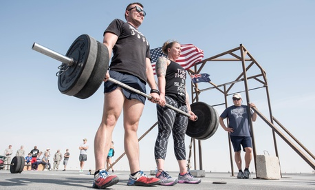 U.S. airmen participate in a crossfit competition at Al Udeid Air Base in Qatar.