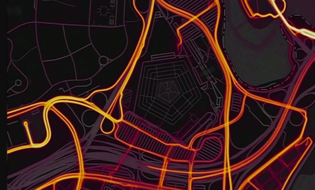 A screenshot from the Strava heatmap depicting the physical activity of runners all around the world, including on US military bases.
