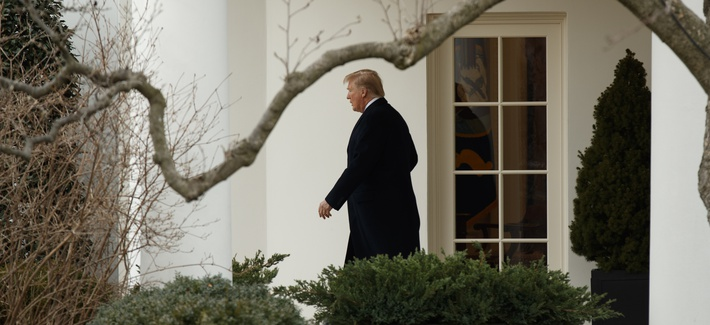 President Donald Trump walks to board Marine One on the South Lawn of the White House, Thursday, Feb. 1, 2018, in Washington.