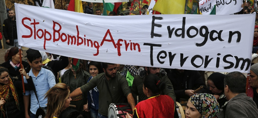 In Beirut, Lebanon, Kurdish demonstrators protest against the operation by the Turkish army aimed at ousting the U.S.-backed Kurdish militia from the area in Afrin, Syria, Jan. 28, 2018.