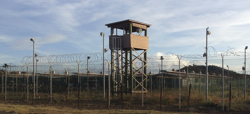 An unused guard tower at Camp Delta, one of the parts of the detention center at the U.S. Naval base at Guantanamo Bay, Cuba, Dec. 11, 2016.