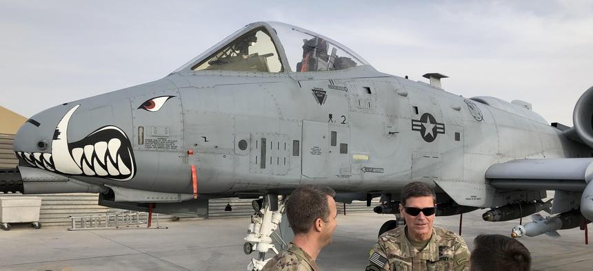 Gen. Joseph Votel, U.S. Central Command commander, visited newly arrived A-10s at Kandahar Air Field, Sat. Jan. 27, 2018.