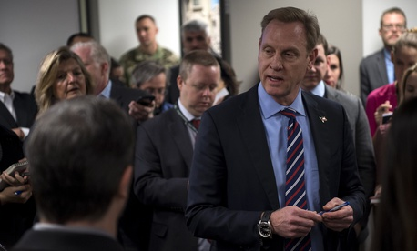 Deputy Secretary of Defense Patrick M. Shanahan briefs the media at the Pentagon.