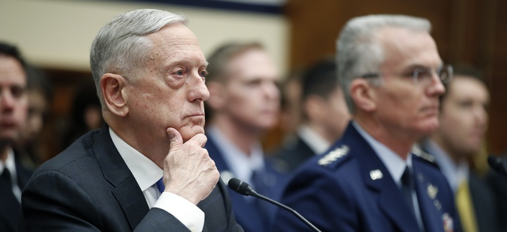Defense Secretary Jim Mattis, left, and Vice Chairman of the Joint Chiefs General Paul J. Selva, testified today at a hearing of the House Armed Services Committee.