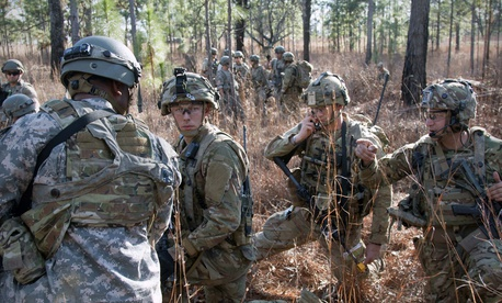 Soldiers assigned to 1st Battalion, 1st Security Forces Assistance Brigade train at Fort Polk, La., Jan. 15, 2018.
