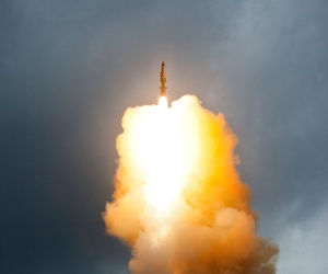 A Standard Missile-3 (SM-3) Block 1A interceptor is launched from the USS Decatur (DDG -73) during a successful intercept test.