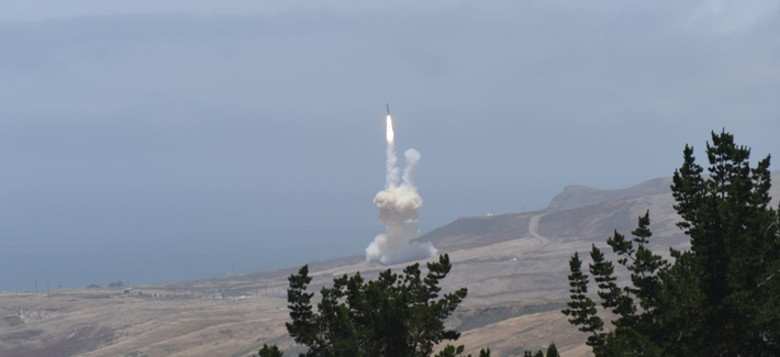 The U.S. Missile Defense Agency conducts an intercept test of an intercontinental ballistic missile at Vandenberg Air Force Base, Calif., May 30, 2017.