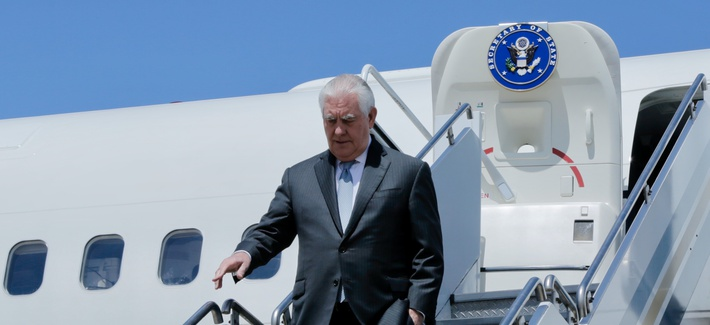 U.S. Secretary of State Rex Tillerson arrives in Buenos Aires, Argentina, on February 4, 2018.