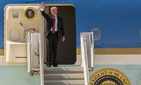 U.S. President Donald Trump waves goodbye after visiting Marine Corps Air Station Yuma, Arizona.