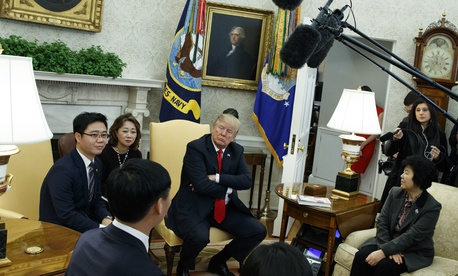 President Donald Trump invited North Korean defectors to the Oval Office of the White House on Feb. 2, 2018.