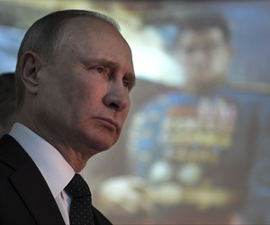 President Vladimir Putin visits a museum dedicated to the battle of Stalingrad during commemorations of the 75th anniversary of the Battle of Stalingrad in the southern Russian city of Volgograd, once known as Stalingrad, Russia, Friday, Feb. 2, 2018