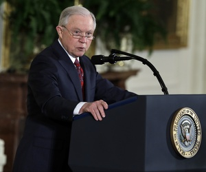 Attorney General Jeff Sessions speaks before President Donald Trump at the Public Safety Medal of Valor awards ceremony in the East Room of the White House, Feb. 20, 2018, in Washington.