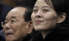 In this Feb. 10, 2018 file photo, Kim Yo Jong, sister of North Korean leader Kim Jong Un, right, and North Korea's nominal head of state Kim Yong Nam, wait for the start of the preliminary round of the women's hockey game.