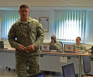 Staff Sgt. Travis Andersen leads a class for WLC students in Bravo Company at the 7th Army NCO Academy in Grafenwoehr, Germany.