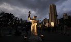 A Goddess of Democracy statue is set up for the candlelight vigil at Hong Kong's Victoria Park Saturday, June 4, 2011, to mark the 22nd anniversary of the June 4th Chinese military crackdown on the pro-democracy movement in Beijing.