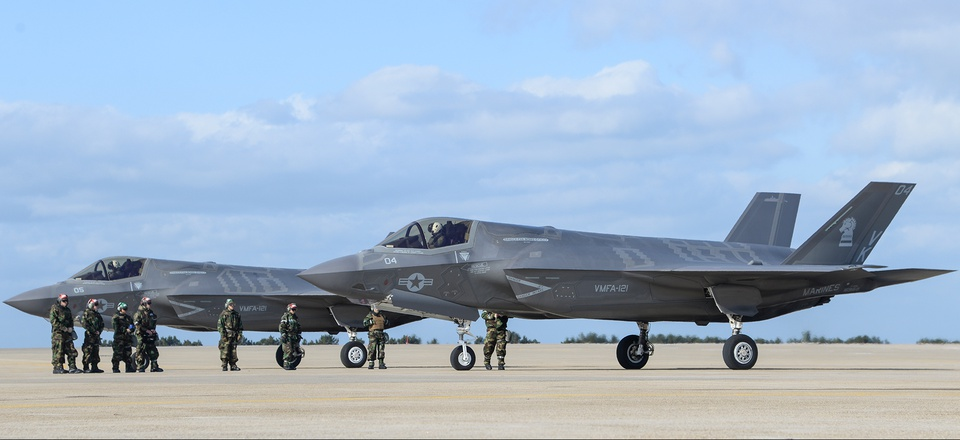 U.S. Marine Corps F-35Bs assigned to Marine Corps Air Station Iwakuni, Japan simulate a rapid rearm and refuel at Kunsan Air Base during VIGILANT ACE 18.