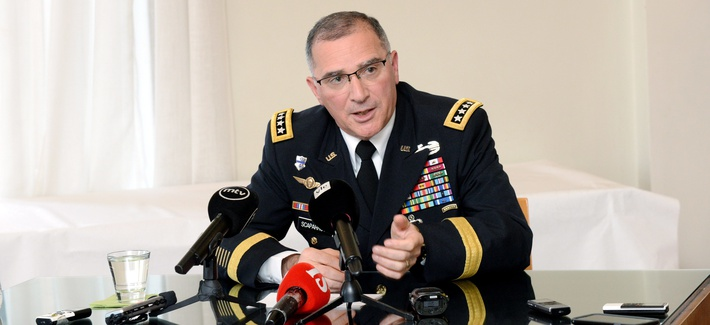 Commander of U.S. European Command, Curtis M. Scaparrotti speaks during his presentation for the Finnish National Defense Course Association in Helsinki, Finland, Wednesday, Aug. 10, 2017.