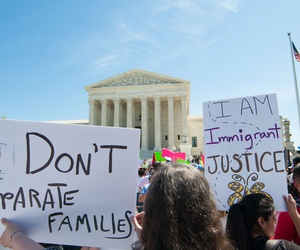 Protestors rally outside the Supreme Court in 2016.
