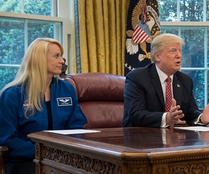 President Donald Trump, joined by NASA astronaut Kate Rubins, left, and First Daughter Ivanka Trump, talks with NASA astronauts Peggy Whitson and Jack Fischer onboard the International Space Station in April 2017.