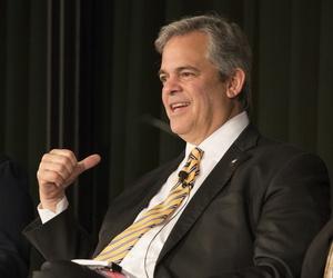 Austin Mayor Steve Adler speaks at the LBJ Library's Future Forum in May 2017.