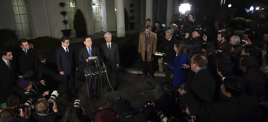 South Korean national security director Chung Eui-yong speaks to reporters at the White House in Washington, on March 8, 2018