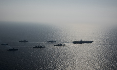 U.S. Navy and Republic of Korea Navy ships steam in formation during exercise Foal Eagle 2017.
