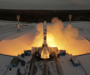 A Russian Soyuz 2.1b rocket carrying Meteor M satellite and additional 18 small satellites, lifts off from the launch pad at the new Vostochny cosmodrome outside the city of Tsiolkovsky, about 200 kilometers (125 miles) from the city of Blagoveshchensk.