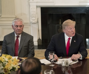 President Donald Trump, joined by Secretary of State Rex Tillerson, left, in the White House in Washington on Jan. 29, 2018.