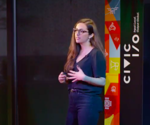 Newsha Ghaeli, president and cofounder of Biobot Analytics, presents during the Civic I/O pitch in Austin, Texas.