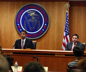 Federal Communications Commission Chairmnnouan Ajit Pai, center, next to Commissioner Mignon Clyburn, left, and Commissioner Michael O'Rielly in December in Washington, D.C.