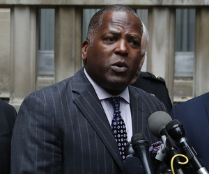 Columbia, S.C. Mayor Steve Benjamin speaks at a news conference with fellow mayors outside the Justice Department on April 25, 2017.
