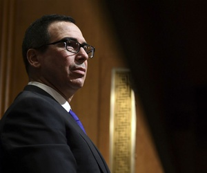 Treasury Secretary Steven Mnuchin testifies before the Senate Finance Committee on Capitol Hill on Feb. 14, 2018.