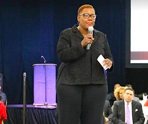 Gary, indiana Mayor Karen Freeman-Wilson speaks during her 2018 State of the City address in February.