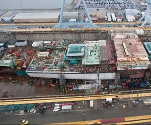 The aircraft carrier Gerald R. Ford (CVN 78), under construction at Huntington Ingalls Newport News Shipbuilding.